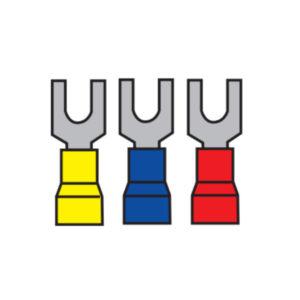 Cosses à sertir isolées à fourche plat 3,5 mm jaune