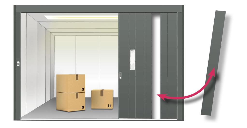 Panneaux de porte articulée pour monte-charge